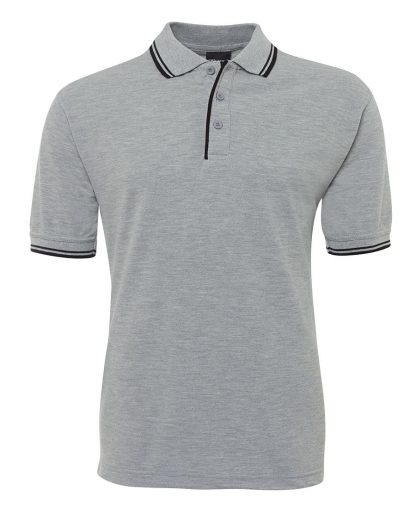 Contrast Polo - Grey Marle/Black