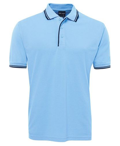 Contrast Polo - Lt Blue/Navy