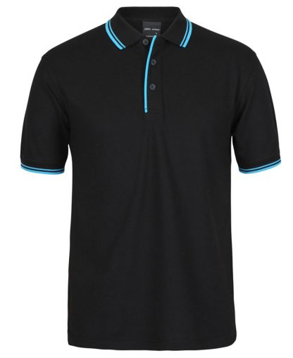 Contrast Polo - Black Aqua