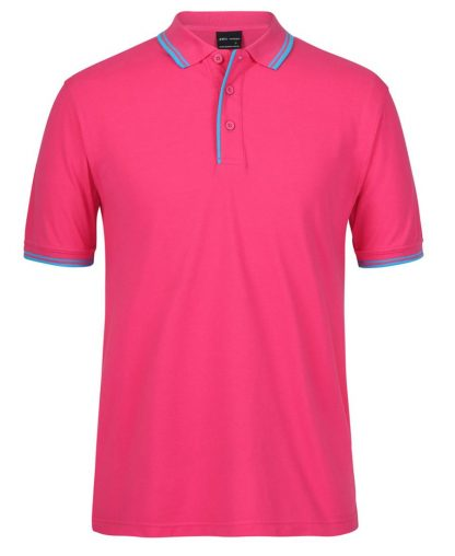 Contrast Polo - Hot Pink Aqua