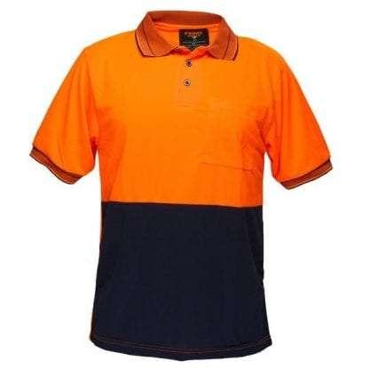 Light Weight Polo to 9XL - Orange/Navy