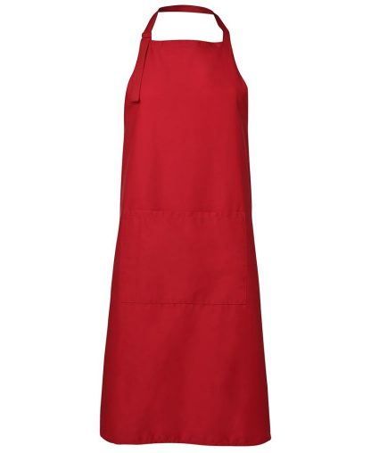 Bib Apron With Pocket - Red