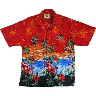Big Island Hawaiian Shirts - Parrot Red