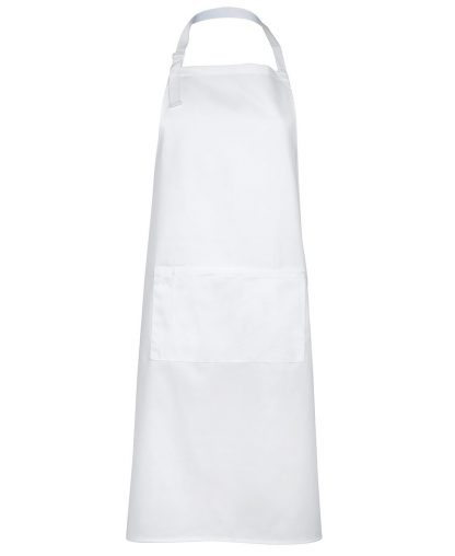 Bib Apron With Pocket - White