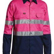 Hi Vis Cool Lightweight Shirt Long Sleeve -Pink Navy