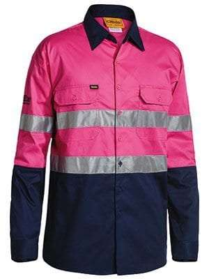 Hi Vis Cool Lightweight Shirt Long Sleeve -Pink Navy