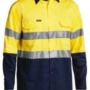 Hi Vis Cool Lightweight Shirt Long Sleeve -Yellow Navy