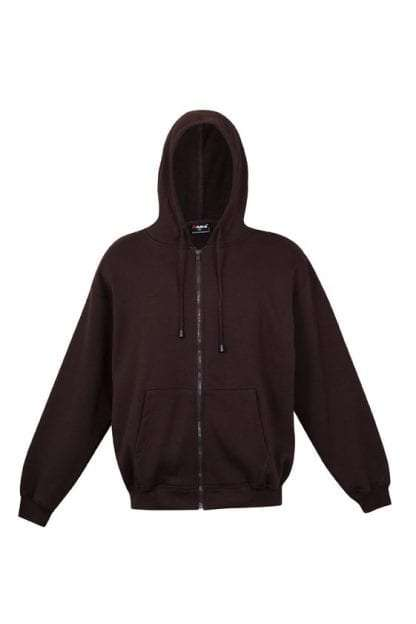 Kangaroo Pocket Hoody Full Zip Brown
