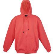 Kangaroo Pocket Hoody Full Zip Coral_Red