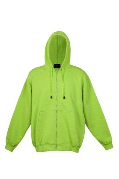 Kangaroo Pocket Hoody Full Zip Lime