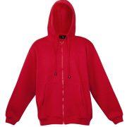 Kangaroo Pocket Hoody Full Zip Red