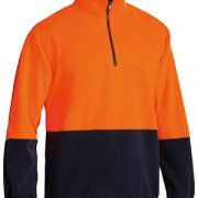 Hi Vis Polar Fleece Zip Pullover Orange Navy