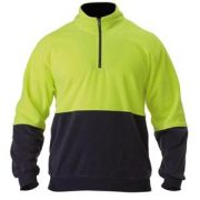 Hi Vis Polar Fleece Zip Pullover - Yellow Navy