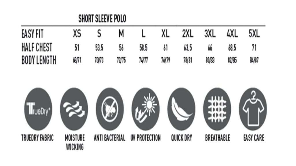 Cool Dry Polo Size Chart