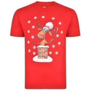 Christmas Tees for Big Fellas - Chimney Rudolph - Red
